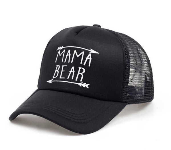Mom hats | Mama bear | Women's Black trucker caps • White vinyl • Adjustable • $10 •  Arrow. Adjustable snap back, hole for pony! - Stacy's Pink Martini Boutique