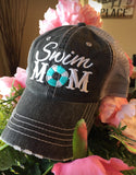 Hats { Swim mom } { Swim hair don't care } Personalize with names/numbers!