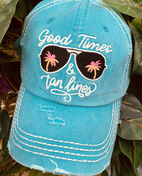 Good times and tan lines • Summer women's trucker hat • Embroidered teal cap with sunglasses & palm trees - Stacy's Pink Martini Boutique