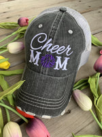 Hats { Cheer mom } Embroidered distressed trucker cap with adjustable Velcro • Pom poms • Gray with pink, teal, purple or red pom poms • Customize with names and numbers - Stacy's Pink Martini Boutique