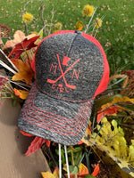 Hats { Mn Girl } Hockey sticks and hockey puck. State of Minnesota or any state available. See assorted colors. Trucker. Unisex. Adjustable snap back. - Stacy's Pink Martini Boutique