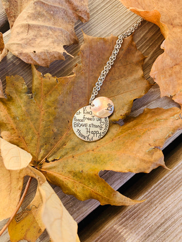 Necklace { Be Kind, Wise, Compassionate, Free, True, Brave, Strong, Happy, Thankful } Silver and bronze. - Stacy's Pink Martini Boutique
