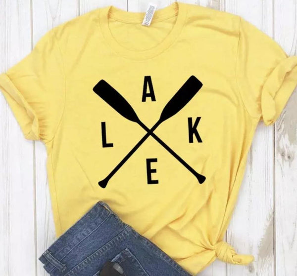 Lake T-shirts •• 6 colors •• Paddles •• S-3X - Stacy's Pink Martini Boutique