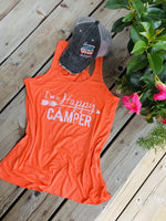 I'm a happy camper tank top •• Coral, teal, black, dark gray, light brown or white •• S - XXL - Stacy's Pink Martini Boutique