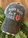 Barn Hats • Barn hair don't care • Personalize • FREE SHIP! TEAL, PINK, WHITE horseshoe • Embroidered • Distressed • Horses - Stacy's Pink Martini Boutique
