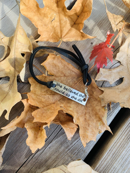 Bracelet { She believed she could so she did } Adjustable black leather and silver. - Stacy's Pink Martini Boutique