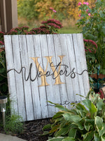 Wood sign { Last name } 24 x 24 • Hand-painted • You choose background color and letter colors • All hand blended and not vinyl • 2 hooks on back • Wood is framed so is boxed in the back. - Stacy's Pink Martini Boutique