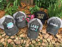 Lake hats! Lake hair dont care | Gray trucker cap-teal, pink, purple anchor | Unisex-Womens-Men-Kids - Stacy's Pink Martini Boutique