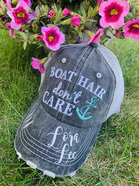 Boating Hats { Boat hair don't care } Teal or pink anchor. Embroidered • Distressed trucker cap • Adjustable Velkro • Unisex - Stacy's Pink