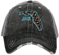 Hats { Florida Jaguars } Jags. Jacksonville Jaguars. Leopard print. State of Florida. Embroidered dog trucker cap with adjustable Velcro and hole for pony. - Stacy's Pink Martini Boutique