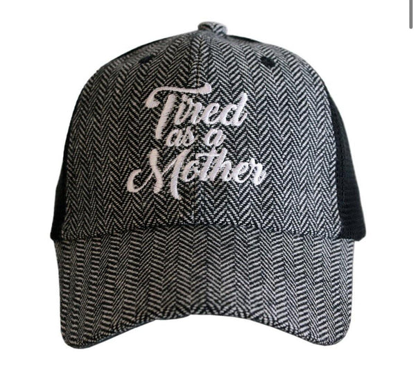 Mom hats! { Tired as a mother } Herringbone ~ Black & white • Embroidered • Womens trucker cap • Clothing - Stacy's Pink Martini Boutique