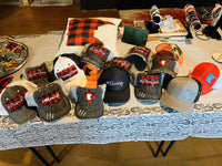 Hats { Blessed mama } Gray distressed with buffalo plaid in red and black check adjustable Velcro. Any custom sating available. - Stacy's Pink Martini Boutique