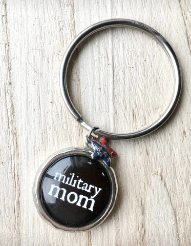 Keychain { Military mom } Red white and blue • Flag• Star • Silver • 2 left! $5 jewelry sale! - Stacy's Pink Martini Boutique