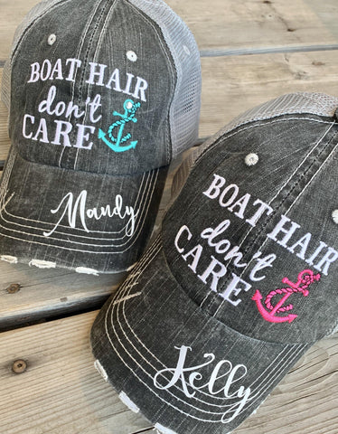 Boat hats! Boat hair dont care. FREE ship and FREE jewelry with each order. Embroidered distressed gray trucker hats with anchors. - Stacy's Pink Martini Boutique