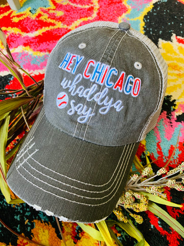 Baseball hats Chicago Cubs Hey Chicago whaddya say Embroidered distressed gray trucker cap Unisex - Stacy's Pink Martini Boutique