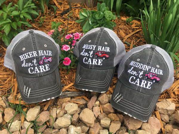 Hat { Biker hair don't care } Muddin hair dont care. Messy hair dont care. - Stacy's Pink Martini Boutique