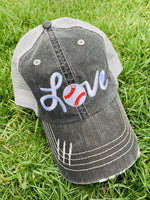 Baseball hat! Love ~ Embroidered women's trucker cap ~ Adjustable ~ Distressed - Stacy's Pink Martini Boutique