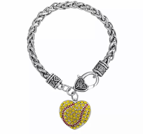 Softball bracelet •• Silver •• Rhinestones •• Heart lobster clasp - Stacy's Pink Martini Boutique