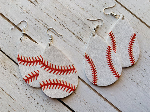 Baseball earrings | Leather - Stacy's Pink Martini Boutique