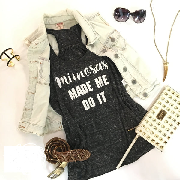 Shirt {Mimosas made me do it} Tank.Black - Stacy's Pink Martini Boutique