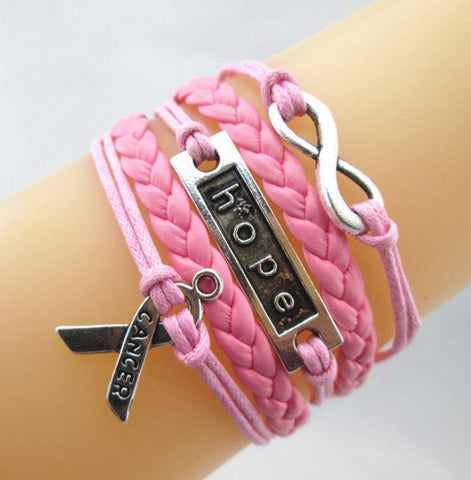 Bracelet { Breast cancer } Pink. Wrap. Hope. Pink ribbon. Infinity.