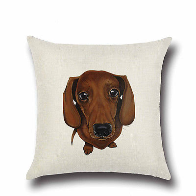 Pillow or pillowcase { Dog } Dachschund. 17 x 17. Zip closure. Cotton and linen. Other dogs available. Just ask! - Stacy's Pink Martini Boutique