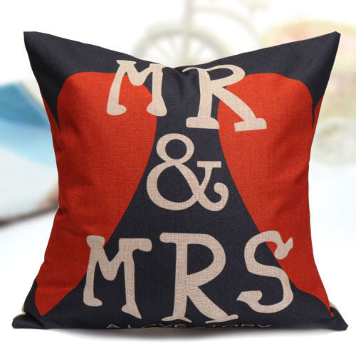 Pillow or pillowcase { Mr. and Mrs. } Personalize with last name. Burlap 17 x 17 zipper closure. Great wedding gift! - Stacy's Pink Martini Boutique