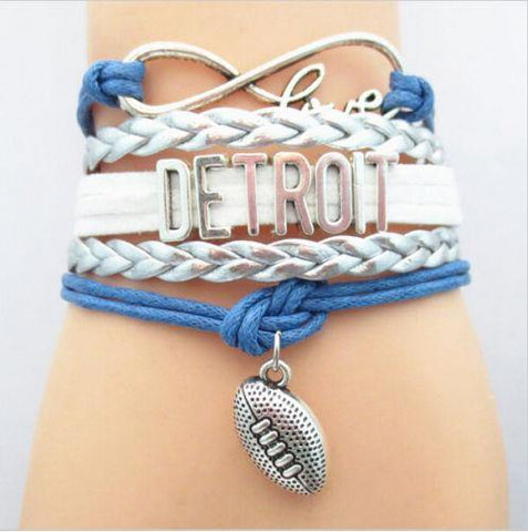 Bracelet { Detroit Lions } Football • Adjustable • Blue and silver • Unisex - Stacy's Pink Martini Boutique