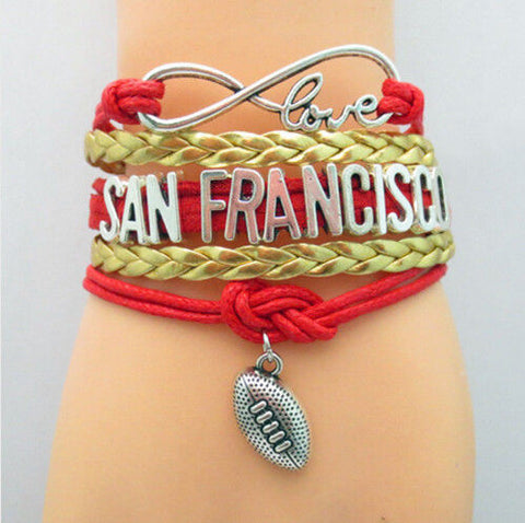 San Francisco 49ers bracelet | Football, love, infinity | Superbowl 2020 | Leather band with 3 inch adjustable extender | Unisex | Sports team jewelry - Stacy's Pink Martini Boutique