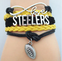 Pittsburgh Steelers bracelet | Leather adjustable football charm - Stacy's Pink Martini Boutique