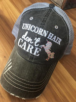 Unicorn hats | Unicorn hair dont care | Embroidered gray womens kids distressed trucker caps - Stacy's Pink Martini Boutique