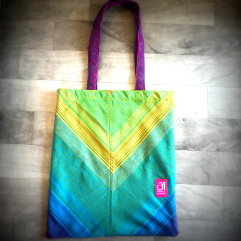 Image of Saptrangi V-Tote Bag (Violet to Green)