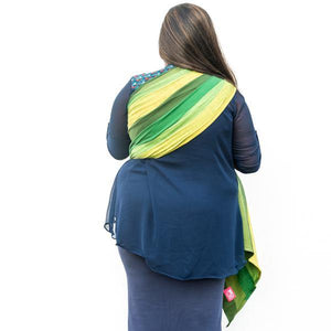 Dhruva Pleated Green Ring Sling