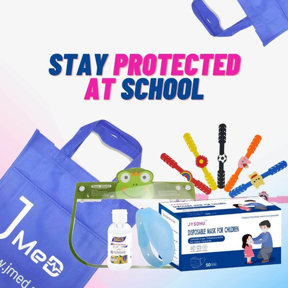 Back to School Bundle (1 pc. each: Kids Face Mask, Silicone Mask Strap, Kids Face Shield, Sanitizer, Wristband)