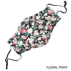 Washable & Reusable Floral Fabric Face Mask with PM 2.5 Filter (1pc.)