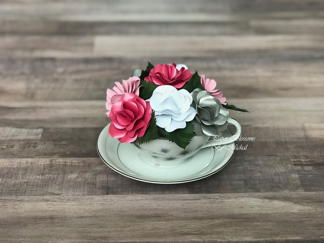 Pink and Silver Paper Flower Teacup Bouquet
