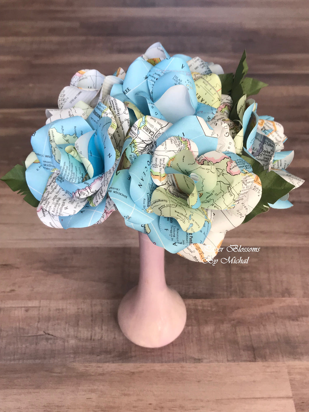 Map Paper Flower Mini-Bouquet