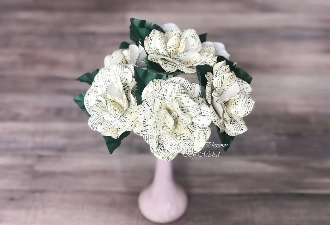 Sheet Music Paper Flower Mini Bouquet