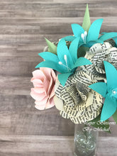 Load image into Gallery viewer, Pride and Prejudice and Teal Paper Flower Bouquet