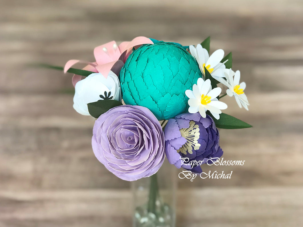 Purple and Teal Paper Flower Bouquet