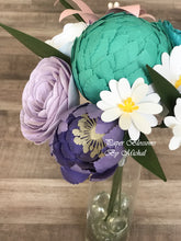 Load image into Gallery viewer, Purple and Teal Paper Flower Bouquet
