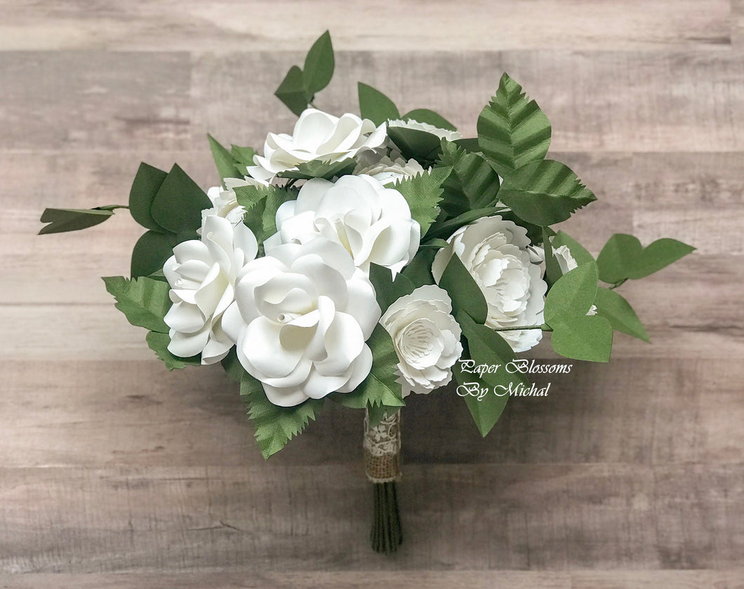 White Rustic Paper Flower Wedding Bouquet and Matching Boutonniere