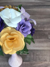 Load image into Gallery viewer, Paper Flower Bouquet: Purple, White, and Gold Mix
