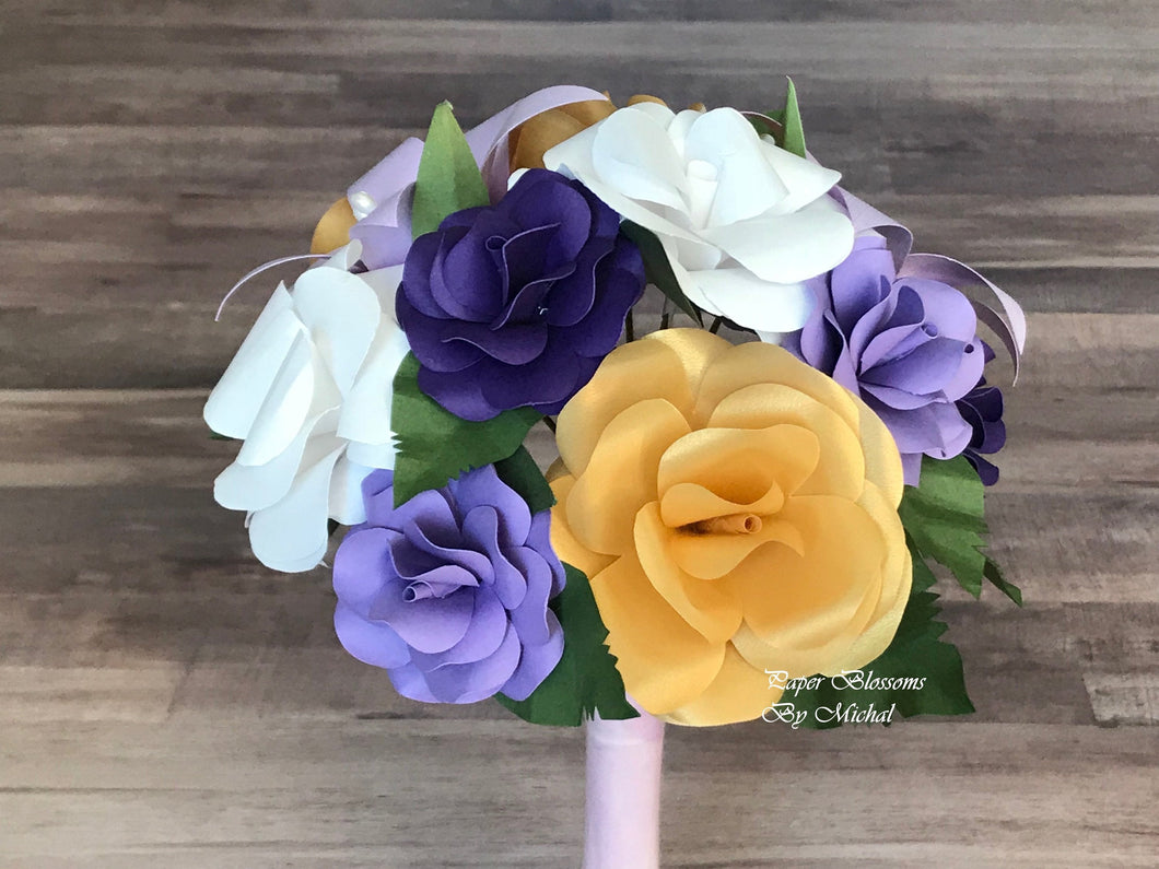 Paper Flower Bouquet: Purple, White, and Gold Mix