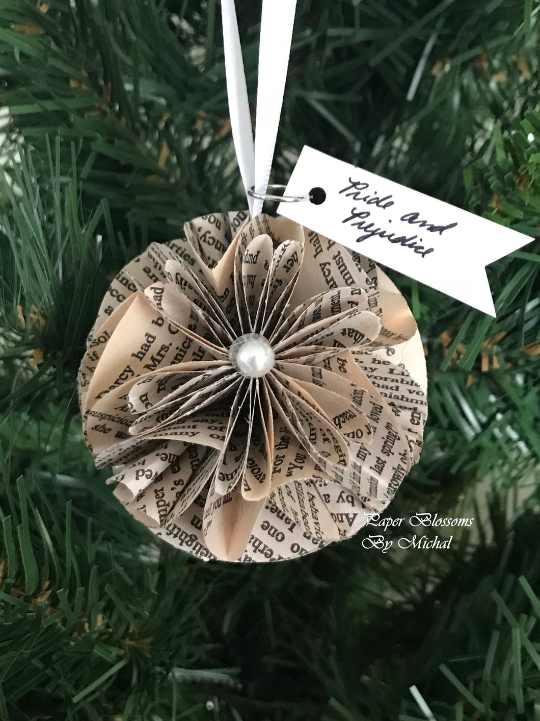 Pride and Prejudice Book Page Christmas Ornament