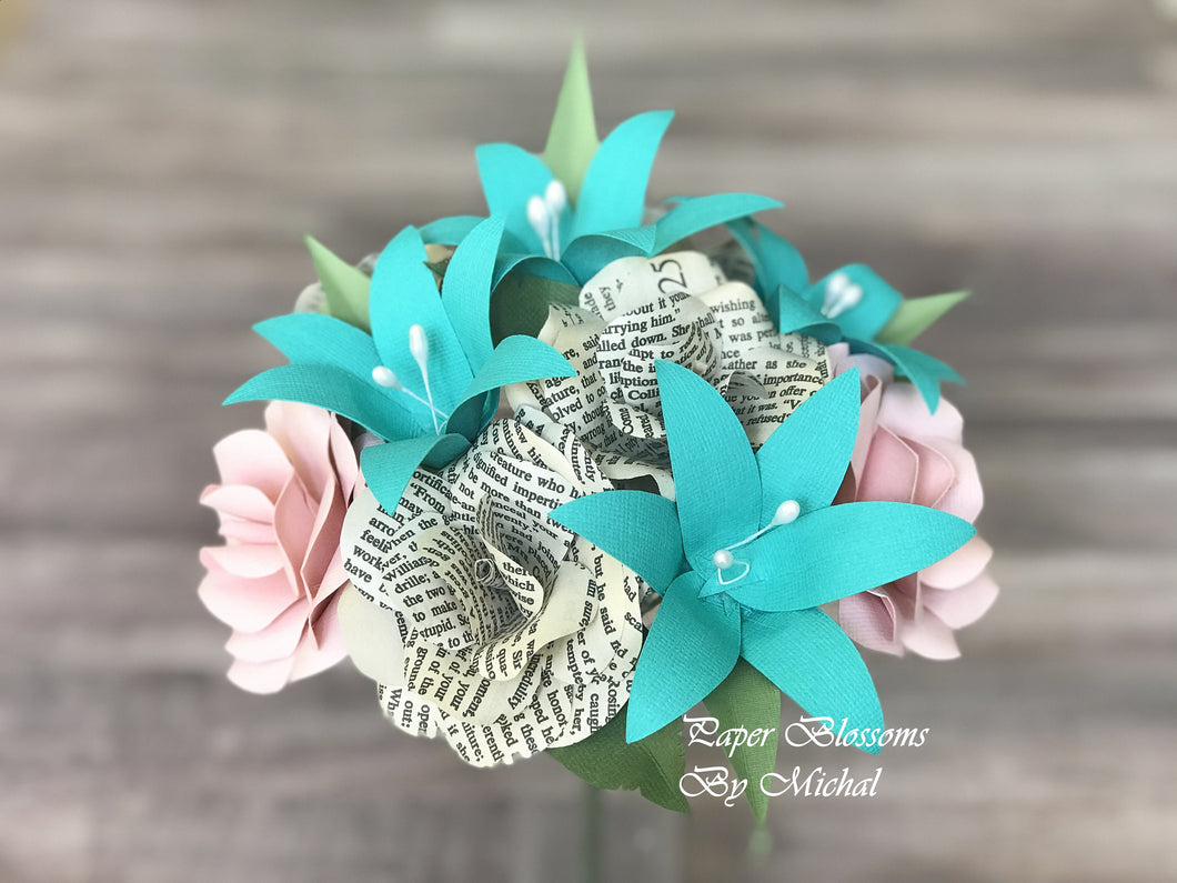 Pride and Prejudice and Teal Paper Flower Bouquet