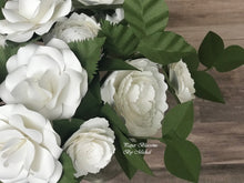 Load image into Gallery viewer, White Rustic Paper Flower Wedding Bouquet and Matching Boutonniere