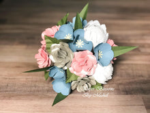 Load image into Gallery viewer, Dusty Blue and Pink Paper Flower Bouquet