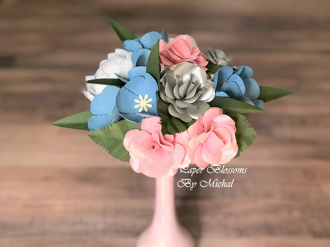 Dusty Blue and Pink Paper Flower Bouquet