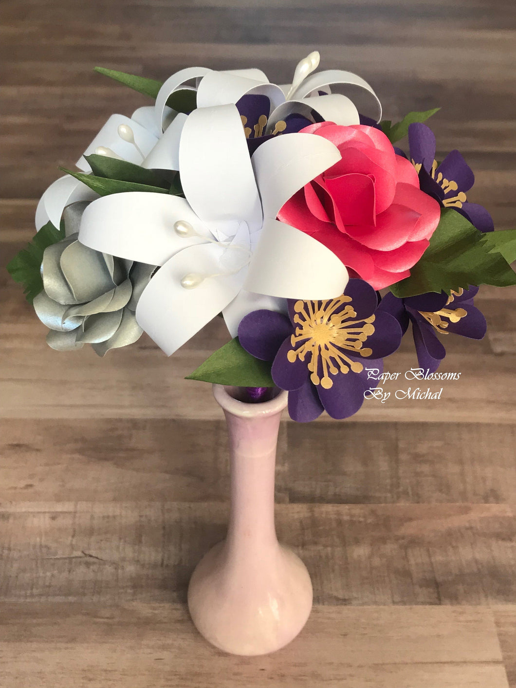 Mini Paper Flower Bouquet: Pink and Purple Mix